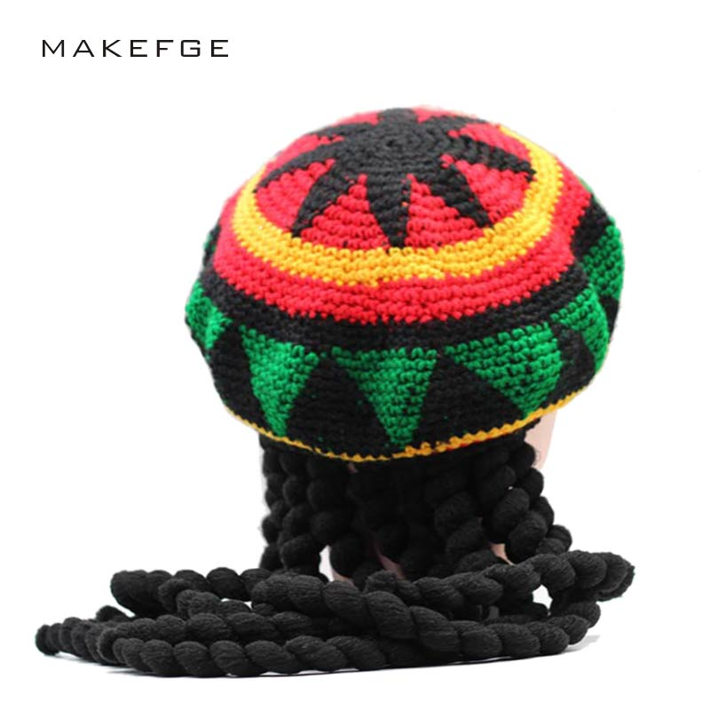 dreadlocks hat Jamaica Rasta Gorro Slouchy Beanie Hat Winter Warm Knitted Reggae Multi-colored Striped Hip Hop Baggy Cap