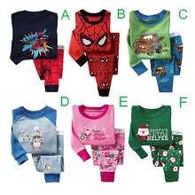 Boys Girls Kids Sleepwear Baby children Pajama Sets Nightwear 2Pieces Long Sleeve Tops + Pants Pyjama Set 2-7Y