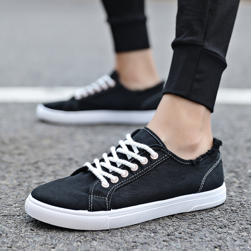 2018 New Arrival Spring Summer Comfortable Casual Shoes Mens Canvas Shoes For Men Lace-Up Brand Fashion Black Flat Loafers Shoe fashion new men s casual shoes lace fashion brand spring and summer shoes flat shoes men s breathable shoes black gray red
