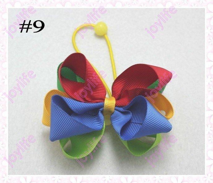 """Смешанных цветов 220 шт 3,"""" красочный шарик конский хвост Луки модный бант для волос для девочек клипсы"""