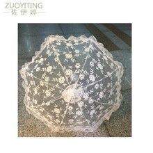 Белая вышивка ручной работы в руках невесты Кружевной Зонтик Свадебные аксессуары кружевной зонтик 11