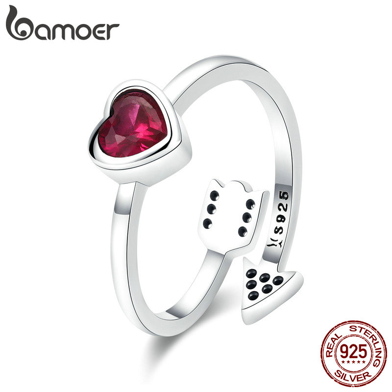BAMOER Real 925 Sterling Silver Red Heart And Love Arrow Clear CZ Finger Rings for Women