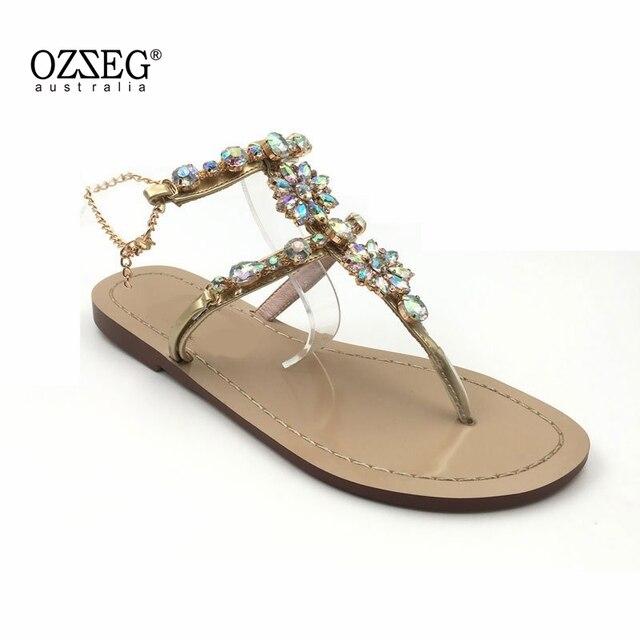 7c35852e335fd1 2018 Woman Sandals Women Shoes Rhinestones Chains Thong Gladiator Flat  Sandals Crystal Chaussure Plus Size 46 tenis feminino
