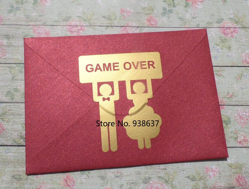 24 GAME OVER Stickers with Bride and Groom Funny Wedding Invitation ...