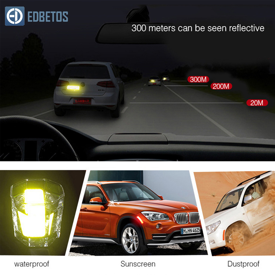 Image 2 - Car Body Safety Reflective Warning Stickers for Car Door Wheel Eyebrow Rear Bumper Review Mirror Helmet Decal Pegatinas Aksesuar-in Car Stickers from Automobiles & Motorcycles