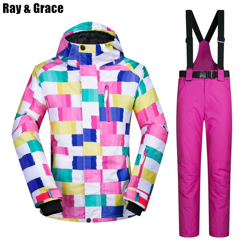 RAY GRACE Ski Suit Waterproof Windproof Jacket Pants Snow Set Thermal Outdoor Sport Coat Pants For Women Skiing and Snowboarding 2018 new lover men and women windproof waterproof thermal male snow pants sets skiing and snowboarding ski suit men jackets
