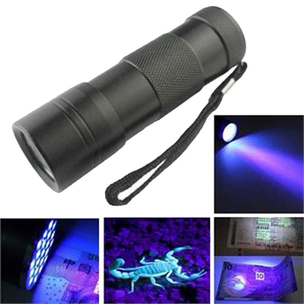 A1 UV Light Black Mini Aluminum UV ULTRA VIOLET Torch 12LED FLASHLIGHT BLACKLIGHT Light Lamp Wholesales&Retails