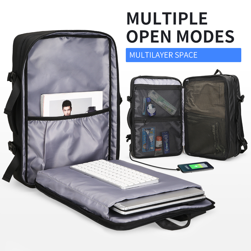 Mark Ryden Man Backpack Fit 17 Inch Laptop USB Charging Multi layer Space Travel Bag Business Male Anti Theft Mochila in Backpacks from Luggage Bags