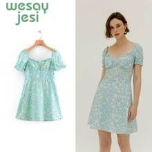 2019 new women french style vintage floral print mini dress femme elegant short sleeve vestidos chic summer dresses