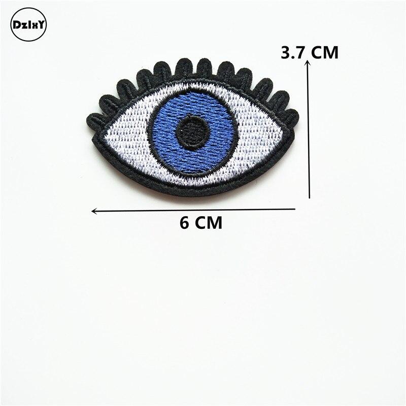 1 PCS Augen Gestickt Eisen auf Patches für Kleidung DIY Bekleidung Zubehör Garment Nähen Aufkleber Appliques Abzeichen 6*3,7 CM @ KK3