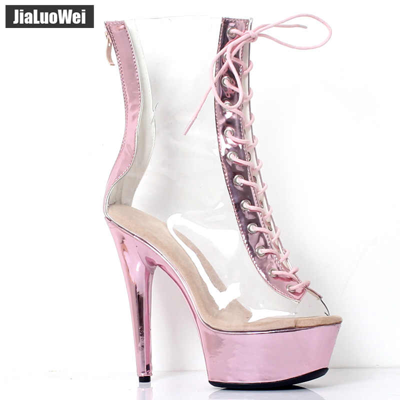 fb2e790e155 jialuowei New Sexy Boots 15CM Extreme High Heel Clear Transparent Lace-up  Zip Peep Toe Platform Women Ankle Boots Metallic Pink