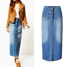 European and American style high-waist Denim skirts fashion woman's single-breasted jeans skirt