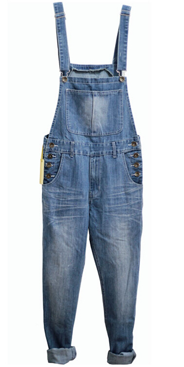 ФОТО S-5XL 2015 New Men Overalls Pants European American Fashion Skinny Ripped Jeans For Men plus size denim jumpsuit