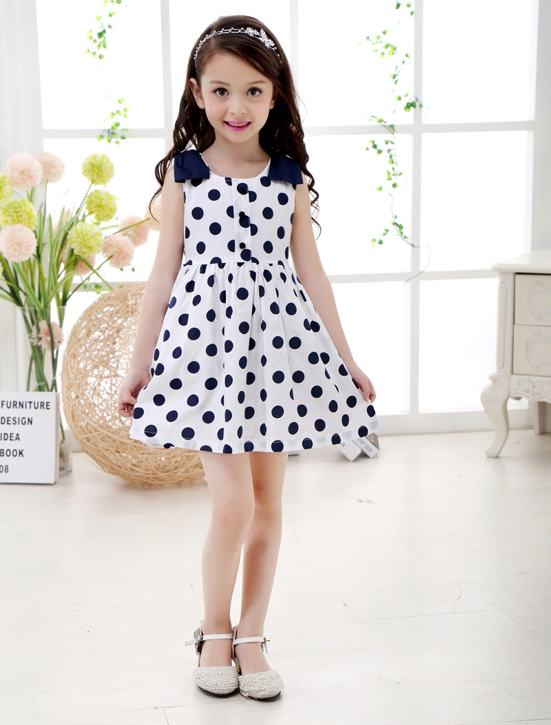 WM Baby Girl Casual Vest Dress Pretty Girl Polka Dot Round Neck ...