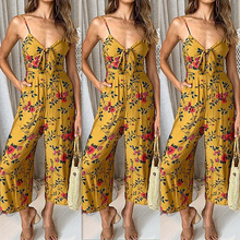 Floral Jumpsuit Bandage Bodysuit Spaghetti Strap Yellow Playsuit Flower Print 2019 Bohemian Boho Streetwear Combishort Femme pink floral print spaghetti flap over detail bodysuit swimwears