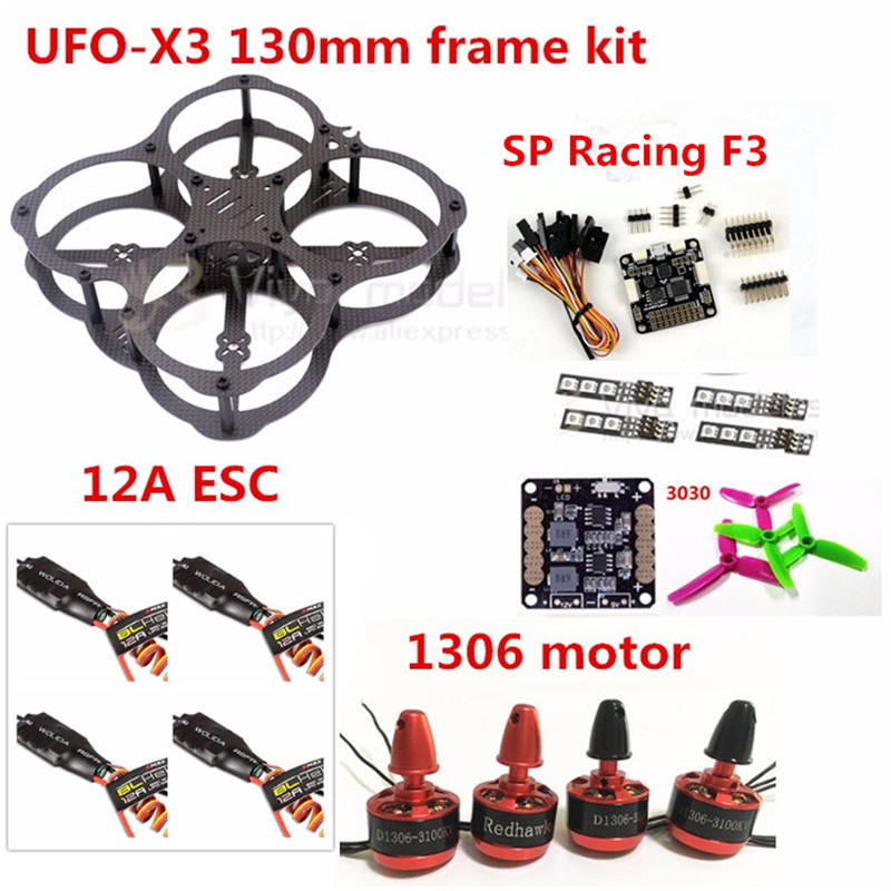 MINI DIY FPV UFO-X3 130mm Carbon Fiber Frame Kit + SP Racing F3 6DOF / 10DOF + 3030 3 blade Propeller+1306 Motor + 12A ESC mini 130mm carbon fiber fpv quadcopter frame kits with emax 1306 4000kv motor littlebee blheli s spring 20a esc f3 f4 fc ts5823l