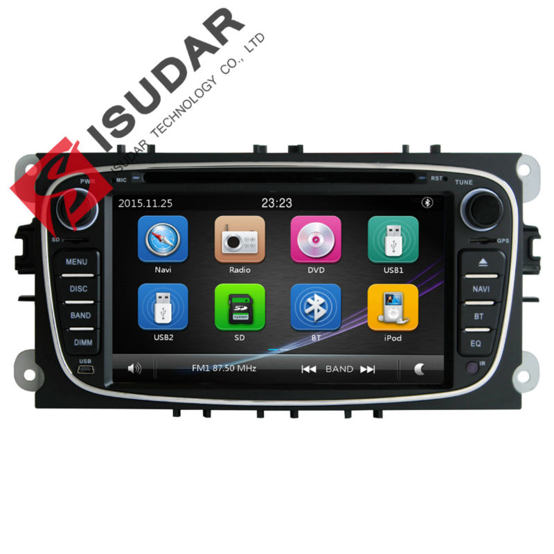 Isudar Car Multimedia Player GPS 2 Din For FORD/Mondeo/S-MAX/Connect/Galaxy/FOCUS 2 2008-2011 Navi BT 1080P Ipod Map Bluetooth 2 din 7 inch car dvd player for ford mondeo s max c max focus 2 2008 2011 with 3g radio gps navigation bt 1080p 8gb map