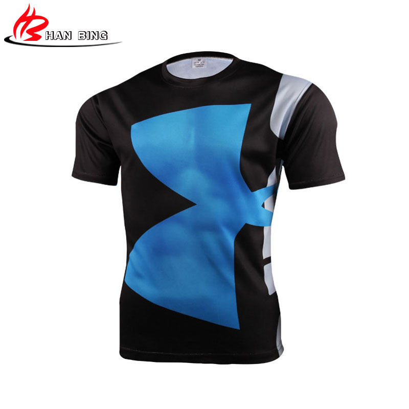 High quality polyester 3d printed t shirts men compression for Compressed promotional t shirts