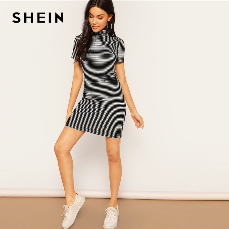 SHEIN Spring High Neck Black and White Striped Dress Women's Shein Collection