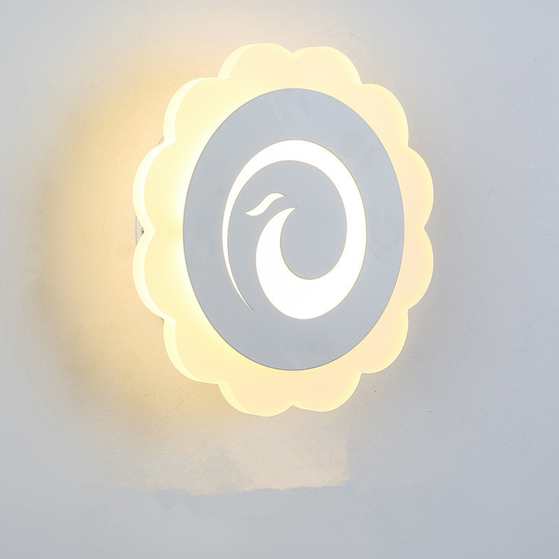 Simple Bedroom Bedside LED Wall Lamp Creative Aisle Lamp Living Room Sunflower Acrylic Lamp Children Room Light Free Shipping bedroom bedside wood led aisle corridor light northern europe simple living room wooden acrylic round wall lamp free shipping