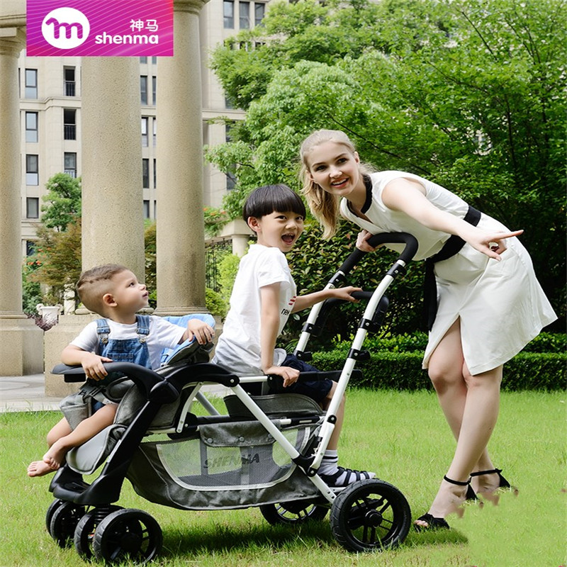 Fast Ship !  Twin Baby Stroller Second Child Double Child Lightweight Folding Can Sit Reclining Twin Baby Stroller