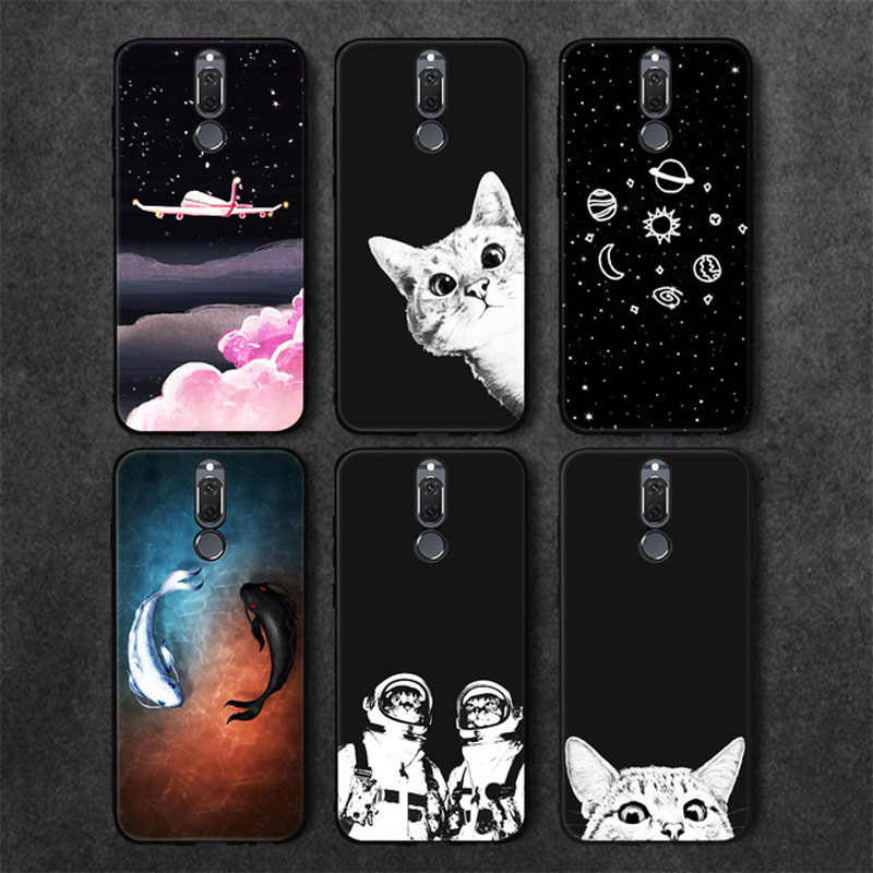 Cat Sky Patterned Black TPU Phone Case For Huawei Mate 10 Lite P10 P20 Pro P8 P9 Lite 2017 For Honor 8 9 Lite Y9 2018 Nova 3E