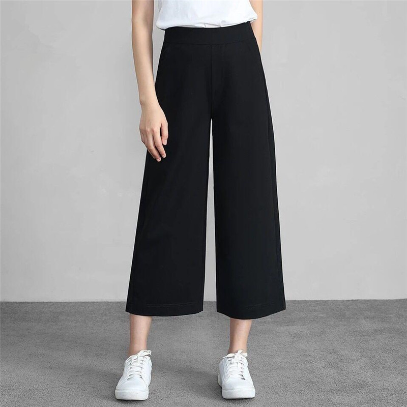 New Arrivals Plus size 6XL 7XL 2019 Summer Chiffon   Wide     Leg     Pants   Girls Straight Trousers Women Elastic Waist Slim Loose   Pants