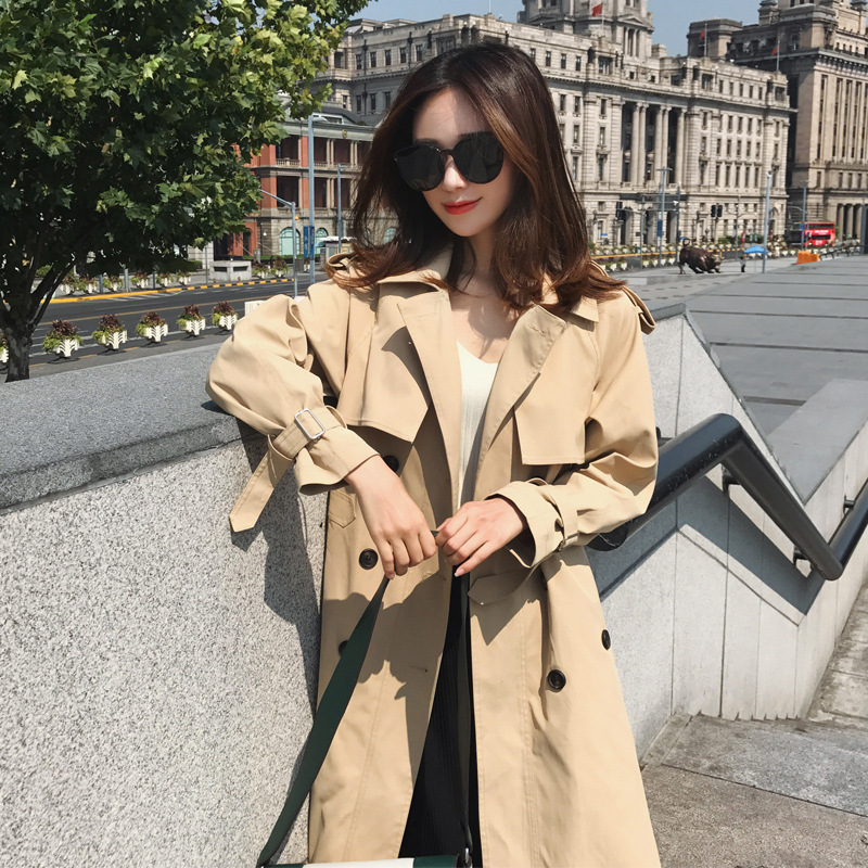 Spring and autumn Apricot trench coat women Over knee long coat ladies coats tunic clothes windbreaker