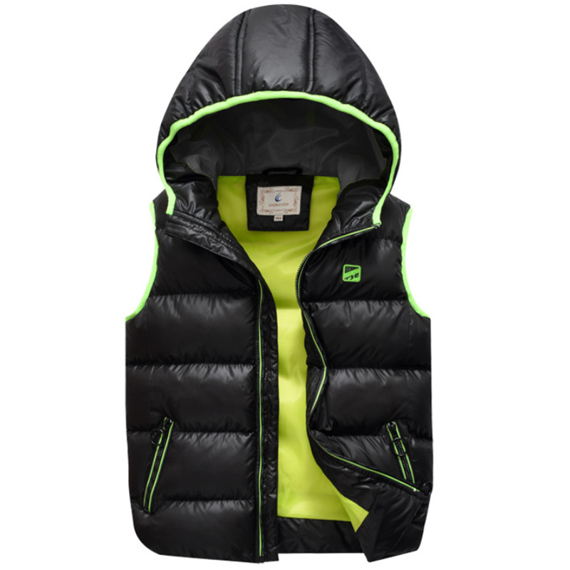 2018 New 8 17T Boys Winter Vest Sleeveless Hooded Warm Jacket Fashion Solid Thickening Down Cotton Waistcoat High Quality