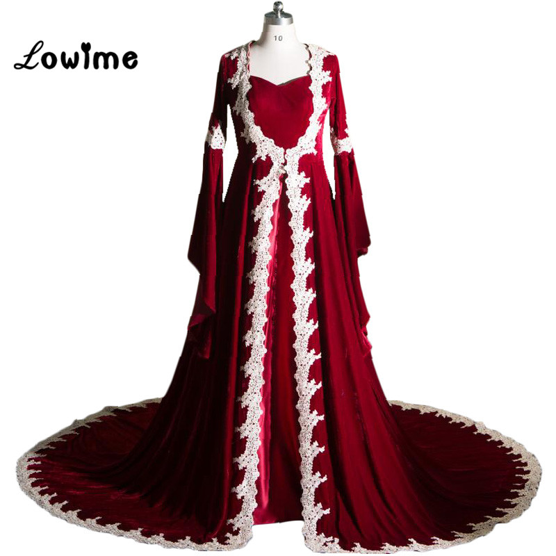 Muslim 2017 Burgundy Evening Dress Långa Prom Dresses Långärmad Vestido Festa Velour Middle East / Kaftan Gratis frakt