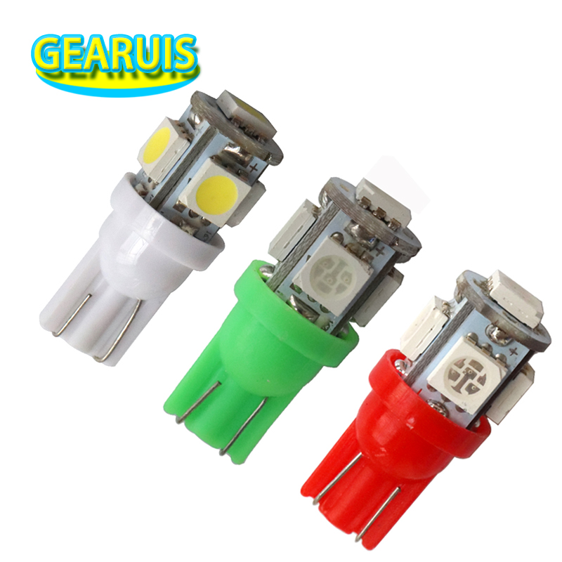 100X Free ship Auto Car LED light T10 194 W5W 5 led smd 5050 Wedge LED Bulb Lamp 5SMD White Green ICE Blue Red Yellow PINK 12V qook 10pcs t10 w5w yellow green red pink white blue 5050 smd 5 led car side wedge light bulb lamp 12v cool white 192 168 194