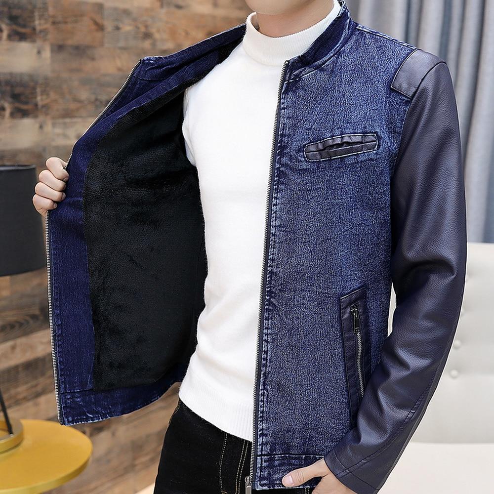 Slim De Chaqueta Patchwork blue Invierno Cuero Jeans Del Boutique Abrigos Niza Calidad Black Casual Denim Hombres Superior Otoño Hombre Fit Pu Snpx0qxvYw