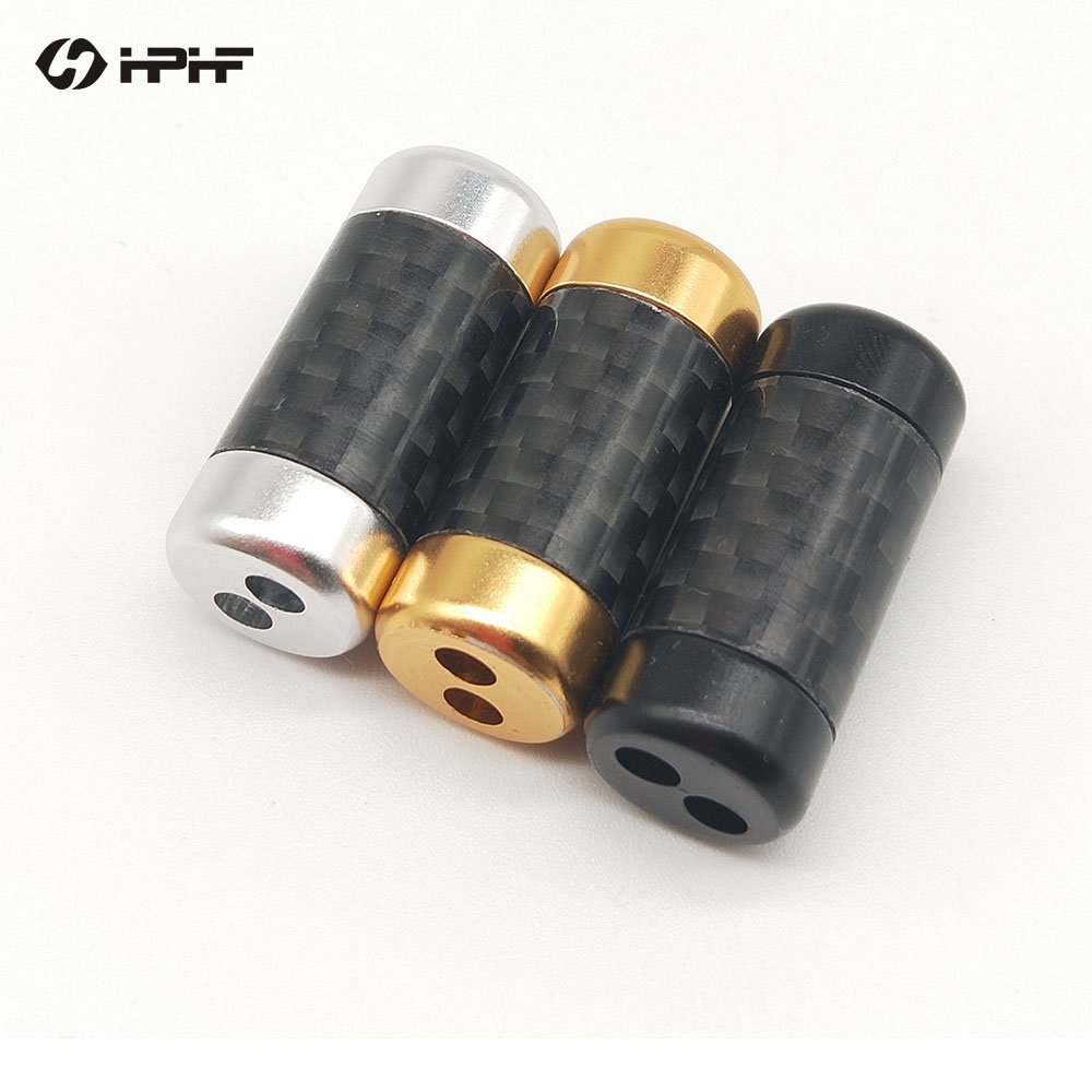 HPHF Actualización de auriculares divisor Slider fibra de carbono personalizado adaptador de Audio para HiFi DIY 4/8/12 Cables tejido a mano