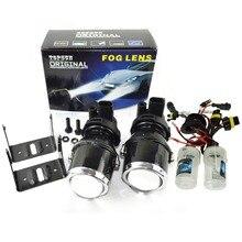 цена на fog lamps projector lens 12V/35W xenon H3 fog len lights hid bulb 6000K for car headlight hid xenon projector lens kit