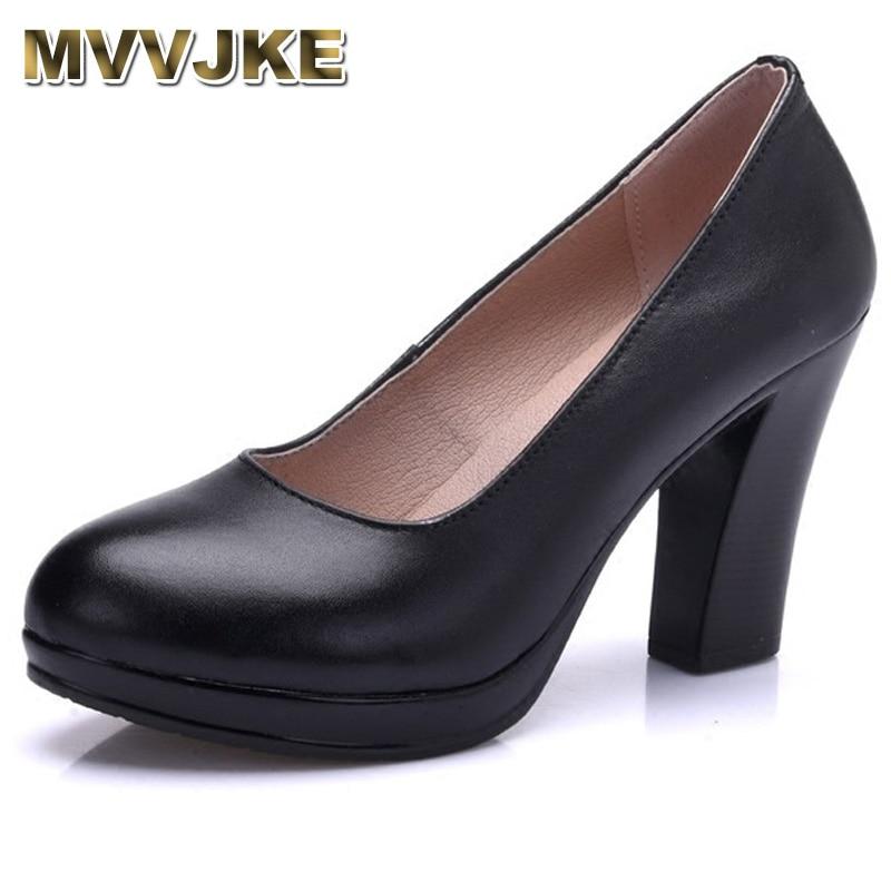 MVVJKEGenuine Leather Shoes Women Round Toe Pumps Sapato Feminino High Heels Shallow Fashion Black Work Shoe Plus Size 33-43E166