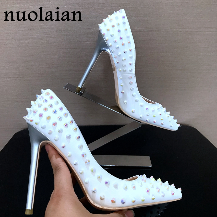 8/10/12CM Brand Women High Heel Shoes Pointed Toe Ladies Shoes Party Wedding Shoes Woman Thin High Heels Womens Rivet Pumps 2018 craylorvans top quality 8 10 12cm women pumps new fashion leopard color pointed toe high heel wedding shoes ultra thin high heel