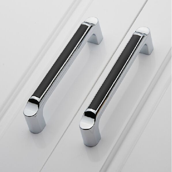 "5"" Modern Fashion Black Kitchen Cabinet Handles Shiny Silver"