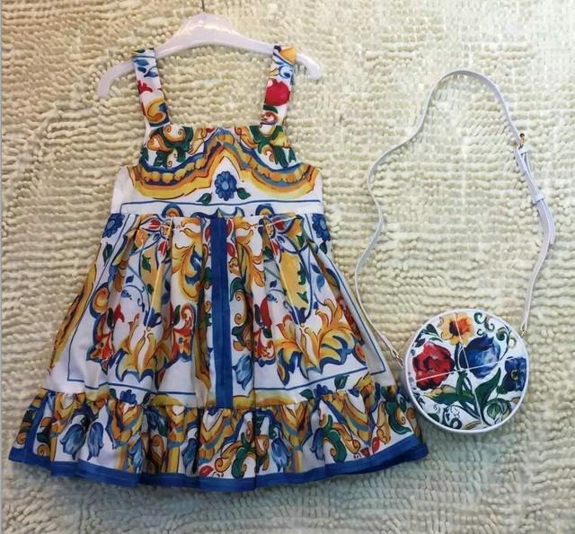 Nuevo Bebé Vestidos de Las Muchachas de impresión Posicionamiento del hombro-correas Vestido de Europa y América Vestidos de Princesa No Bolso de Los Niños al por mayor