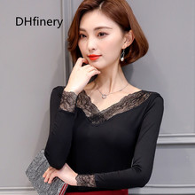 DHfinery lace t shirt women spring autumn long sleeve low v-neck Flower embroidery t-shirt lady wild black Elegant tops F325 fobo r24 f325