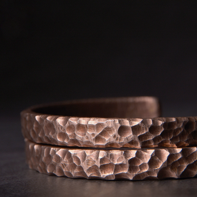 Bracelet rustique Martelé cuivre Viking fait main  3