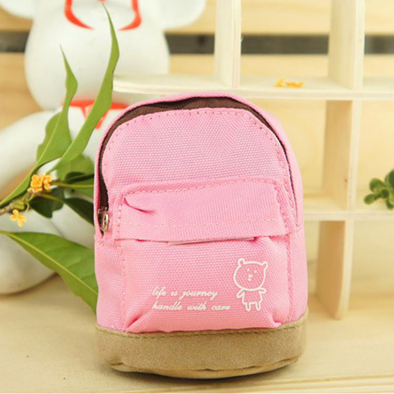 XYDYY Fashion Women Oxford Coin Purse Small Bear Prints Mini Schoolbag Shape Satchel Pendant Coin Purses Wallet Handbag for Girl