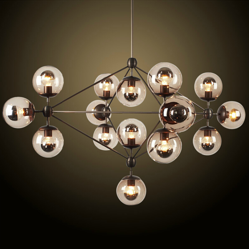 American Loft magic bean iron pendant light fixture Industrial retro glass ball pendant lamp novelty glass magic plasma ball light 3