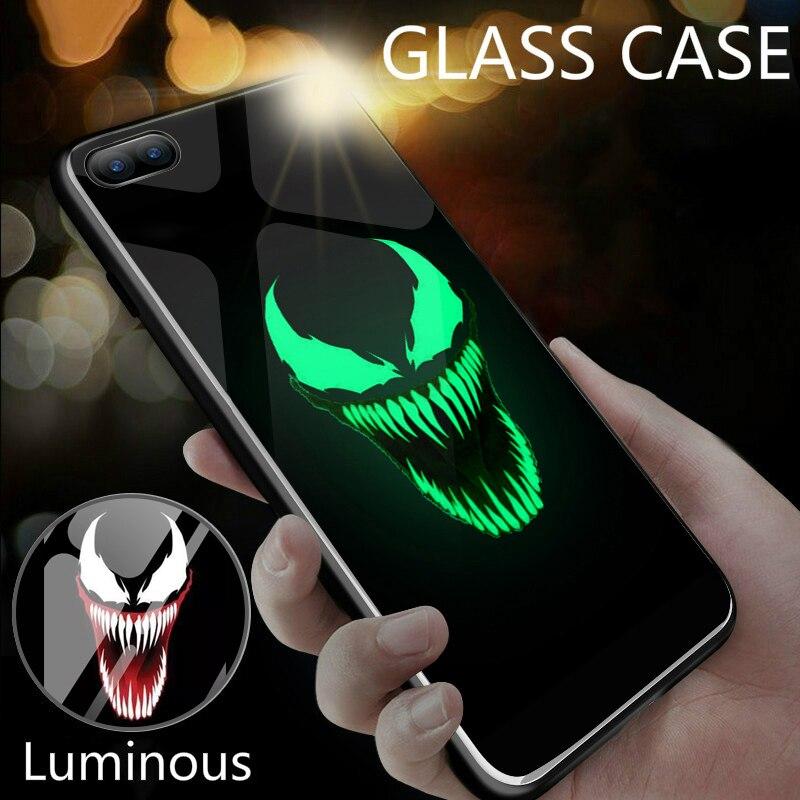 Deadpool Venom Villain Super Hero Glowing Glass Case For iPhone 7 8 6 6s Plus X XR Xs