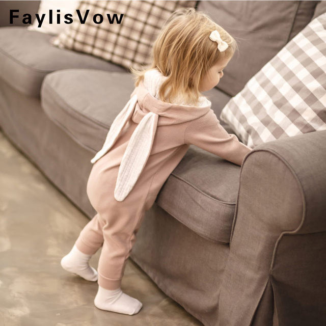 b46e4170239d4 Cute Rabbit Ear Hooded Baby Romper Long Sleeve Infant Jumpsuit Baby Bunny  Costume Spring Autumn Newborn Clothing Infant Outfits