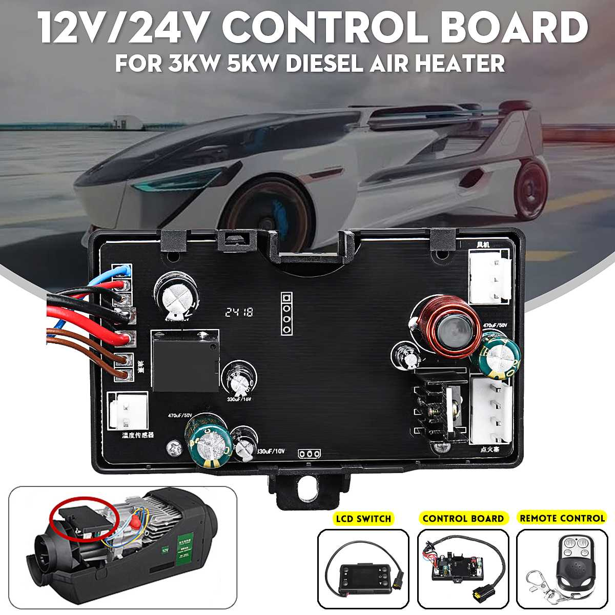 Remote Control For 5KW Diesel Air Heater 12V//24V Controller Board /& LCD Switch