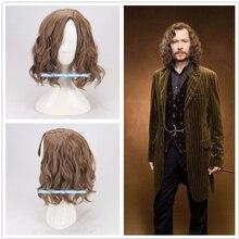 Sirius brązowe kręcone peruki peruka do Cosplay Halloween do odgrywania ról Sirius czarne włosy kostiumy + czapka z peruką