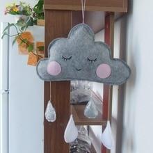 Nordic Style Felt Cloud With Face Kids Room Decoration Cloud Scandinavian Style Children Room Decor Nordic Decoration For Room