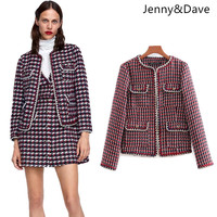 Jenny&Dave 2018 feminino Casual england style plaid striped tweed regular pockets blazers women Suit jacket plus size 0910