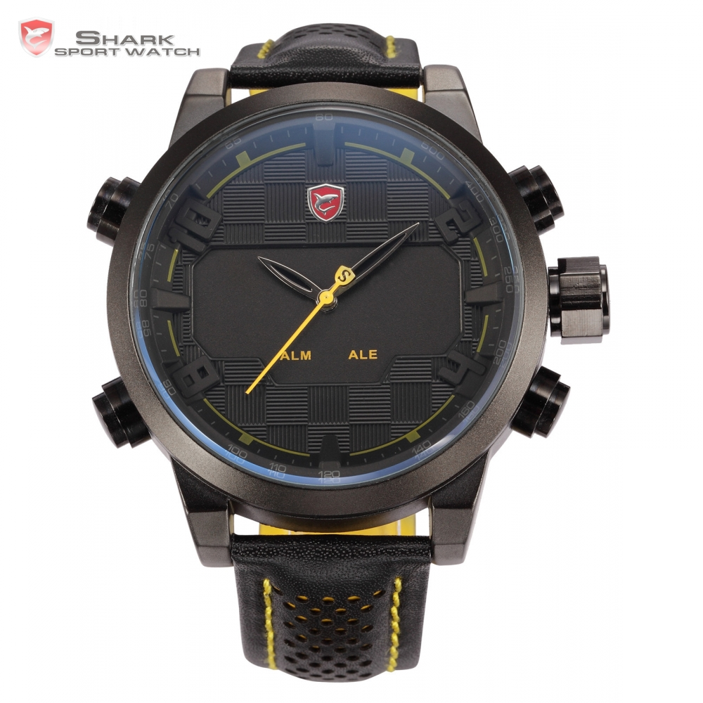 New Shark Sport Watch Men Stainless Steel Case Dual Time LED Auto Date Alarm Digital Leather Strap Black Yellow Montre / SH204 top brand luxury digital led analog date alarm stainless steel white dial wrist shark sport watch quartz men for gift sh004