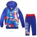 Nueva moda ropa para niños juegos de ropa de bebé superior chándales del deporte para niños 2 unidades capitán américa Avengers Alliance con capucha